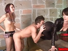 Two Hotties Fuck a Guy and Feed Him Cum STRAPON FEMDOM