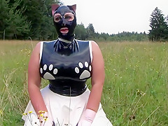 The Sweet Dirty Kitty Cat - Blowjob Handjob with Cat Mask Latex Gloves - Cum on my Latex Shirt