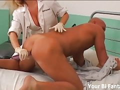 Gangbanged by nurses with huge strapon dildos