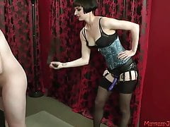 Femdom mix of strapon facesitting whipping humiliation