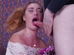 Flower girl gets brutally face fucked and fed man ass