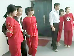 Group Chinese bondage in the gym