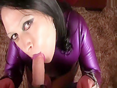 Rubber Bondage Tits - Blowjob Handjob with Purple Nails - Fuck my Pussy - Fuck my Tits - Cum on my Tits