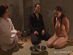 Busty Japanese XXX model as sex slave in dirty orgy