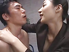 Tall japanese office lady in control