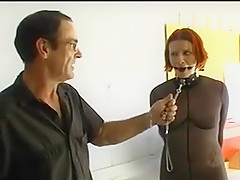 Redhead sex slave in fishnet ready for bdsm adventure