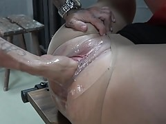 Nasty slave enjoys fisting and cumshot